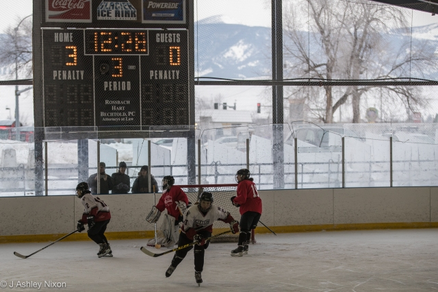 Calgary Girls Hockey Bantam 1 Hawks and Idaho in outdoor action at the Northern Rockies Classic girls hockey tournament in Missoula, Montana, USA © J. Ashley Nixon