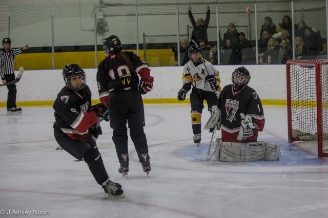 Olds Grizzlies go up 3-0 during their game against Calgary Girls Hockey Bantam 1 Hawks. © J. Ashley Nixon