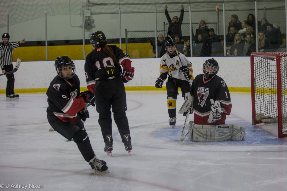 Olds Grizzlies go up 3-0 during their game against Calgary Girls Hockey Bantam 1 Hawks. © J. Ashley Nixon