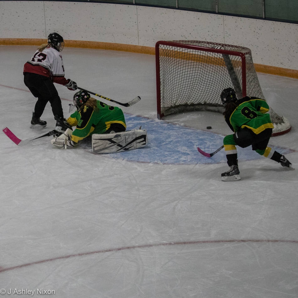 Goal for Calgary Girls Hockey Bantam 1 White Hawks in their game against Okotoks at Stavely Arena, Alberta. © J. Ashley Nixon
