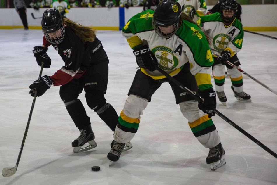 Okotoks Oilers and Calgary Girls Hockey Bantam Hawks in action at the Scott Seaman Sports Rink, Millarville, Alberta, Canada. © J. Ashley Nixon