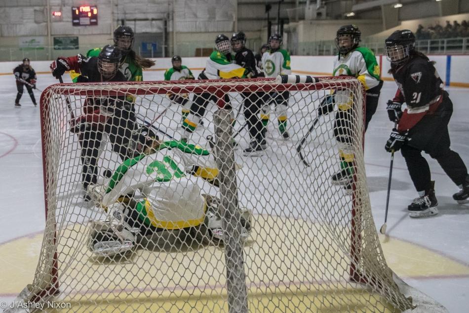 Action from the Calgary City hockey championship first round game between Calgary Girls White Hawks and the Okotoks Oilers in Black Diamond, Alberta, Canada. © J. Ashley Nixon